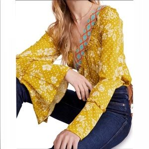 Free People One on One Date Yellow Bodysuit S